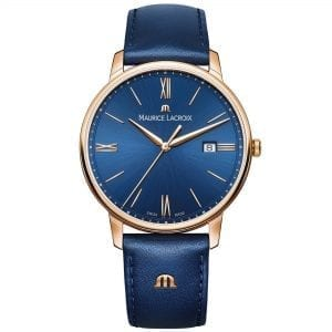"Maurice LaCroix Eliros Blue Leather Gold PVD Steel Case Ladies Watch EL1118-PVP01-411-1This Maurice LaCroix Eliros Blue Leather Gold PVD Steel Case Ladies Watch EL1118-PVP01-411-1 brings a calm and relaxing addition to your wrist. A blue sun brushed dial is complimented by golden indexes and hands, of which are powered by a quartz movement. Furthermore, at the 12 o'clock position is the premium Maurice LaCroix logo with a simplistic date window adjacent to the 3 o'clock index. Surrounding the dial is a polished gold PVD stainless steel case to provide it with the protection it deserves. Finally, a blue leather strap can be fastened using a pin buckle to sit comfortably around ones wrist.  This watch has a water resistance of 50 metres, making it suitable for surface swimming. Key Features:Eliros FamilyQuartz MovementBlue Leather Strap40mm CaseDate WindowBlue Sunbrushed DialGold PVD Stainless Steel Case50m Water ResistantPin Buckle The Family: ElirosRecently relaunched, the Maurice Lacroix Eliros family imposes a much more modern aesthetic on a classic design. Fitted with a high-quality Swiss quartz movement and complete with the unmistakable brand signature ""M"" logo on the strap, the Eliros collection is finished to a standard usually only found on more expensive Maurice Lacroix timepieces, meaning that these watches are not only alluringly styled but attractively priced. The Brand: Maurice LacroixHaving only been founded in 1975 as part of Desco von Schulthess of Zurich, Maurice Lacroix has enjoyed a rapid ascension to the pinnacle of Swiss watchmaking, picking up scores of awards and patents in the process. As a result, each Maurice Lacroix timepiece is an expert blend of tradition, creative development and cutting-edge technology, meaning that every watch that leaves their state-of-the-art workshop in Mountfacon is perfect in form as well as function. Now capable of producing fourteen unique and innovative movements, many of which are painstakingly finished by hand, Maurice Lacroix has collaborated with people as diverse as Wikipedia founder Jimmy Wales, golfer Justin Rose and musician Bob Geldof, and is also the official watch partner of FC Barcelona and the Red Bull Cliff Diving World Series."