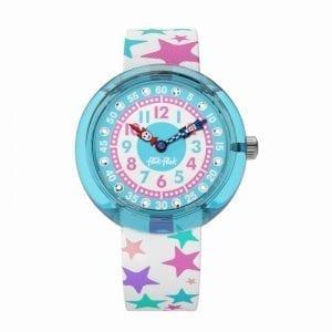 Flik Flak Tahlita Kids' Girls Blue Plastic Case White Textile Strap Stars Watch FBNP081 32mm