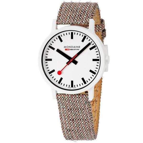 Mondaine Essence Quartz White Dial Brown Textile Strap Watch MS1.41110.LG RRP £169
