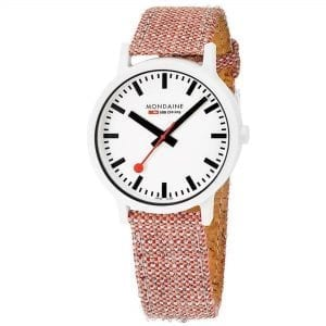 Mondaine Essence Quartz White Dial Red Textile Strap Watch MS1.41110.LP RRP £169