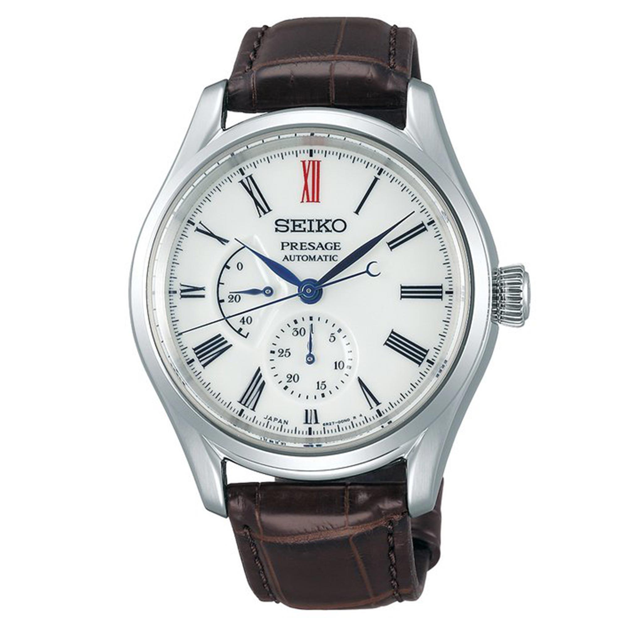 Seiko Presage Automatic Arita Porcelain White Dial Brown Leather Strap Men's Watch SPB093J1 RRP £1,750