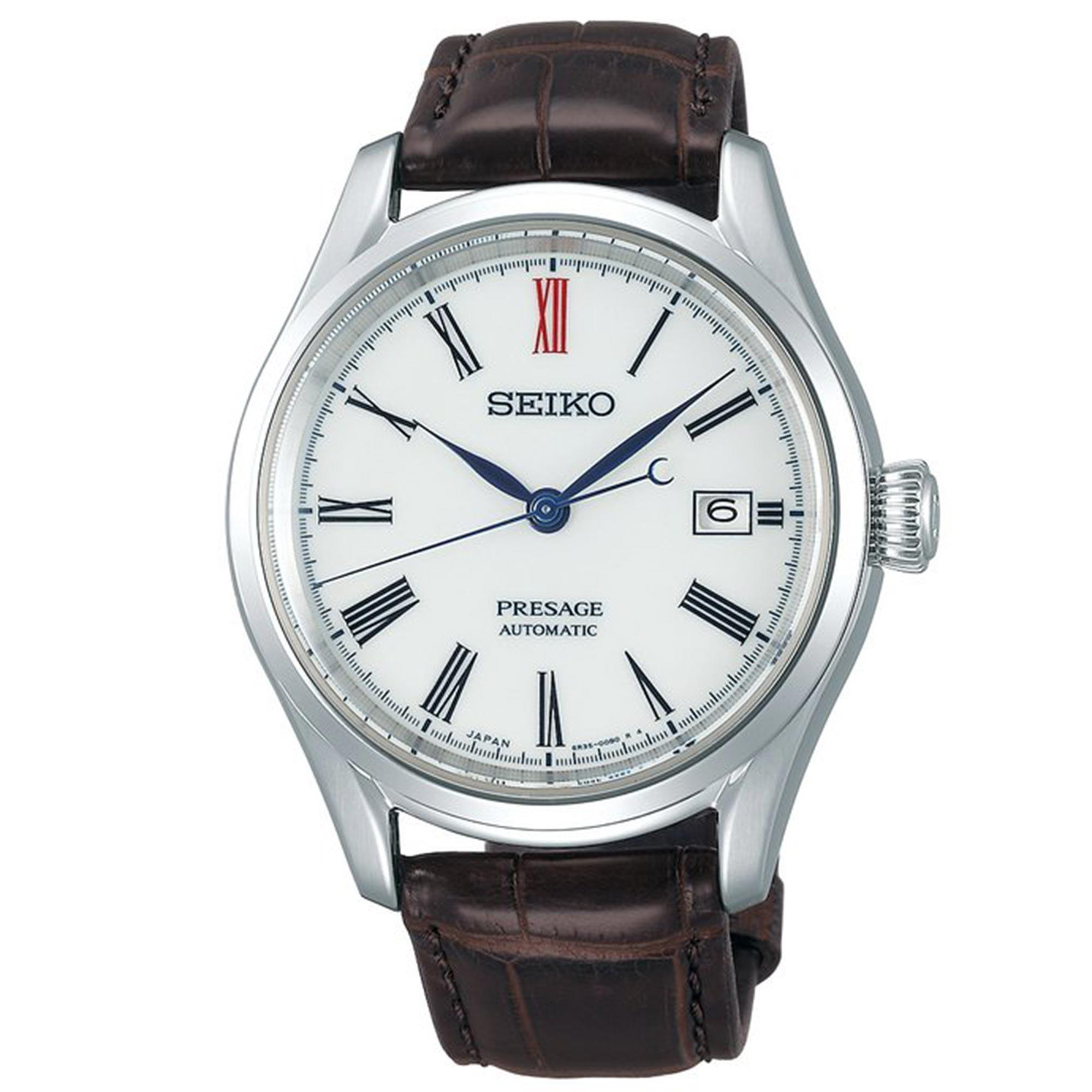 Seiko Presage Automatic Arita Porcelain White Dial Brown Leather Strap Men's Watch SPB095J1 RRP £1,550