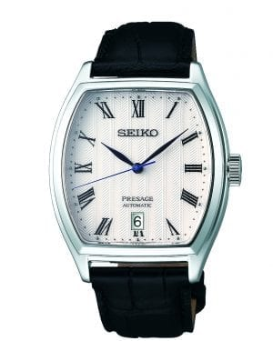 Seiko Presage Automatic Tonneau Case Black Leather Strap Mens Watch SRPD05J1 37mmThe watches dial features a white pattern perfected by the experts in Seiko's facilities located in Japan, offering high quality and value. The display includes three hands, those of which are hour, minute and second hands. A date window is located just above the 6 o'clock position with the ever present Seiko logo appearing at 12 o'clock. The epic timepiece is paired with a black calfskin leather strap and a three fold clasp with push button release. This automatic movement also has a manual wind feature. The dial is protected by a unique curved sapphire glass. All in all, this makes for a perfect dress watch.Key Features:Stainless Steel CaseCurved Sapphire GlassCalfskin StrapCaliber: 4R35Automatic MovementManual Winding CapacityDuration Approximately 41 Hours+45 to -35 seconds a dayThree Fold Clasp With Push Button RelaseSplash Resistant23 JewelsCase Back With 4 ScrewsDate DisplaySee-Through Case BackStop Second Hand Function The Brand: SeikoSeiko's 135-year history has been marked by a ceaseless determination to innovate in every aspect of the watchmaker's art. By embracing this mantra, Seiko has been responsible for a string of industry-leading advances in the technology of time, such as the world's first quartz watch, the world's first TV watch, and the Seiko Kinetic, the first watch ever to generate its own electricity from the movement of the wearer. Seiko are unique in that they manufacture every aspect of every watch in-house, with this ruthless pursuit of perfection even including growing their own quartz crystals and sapphires.