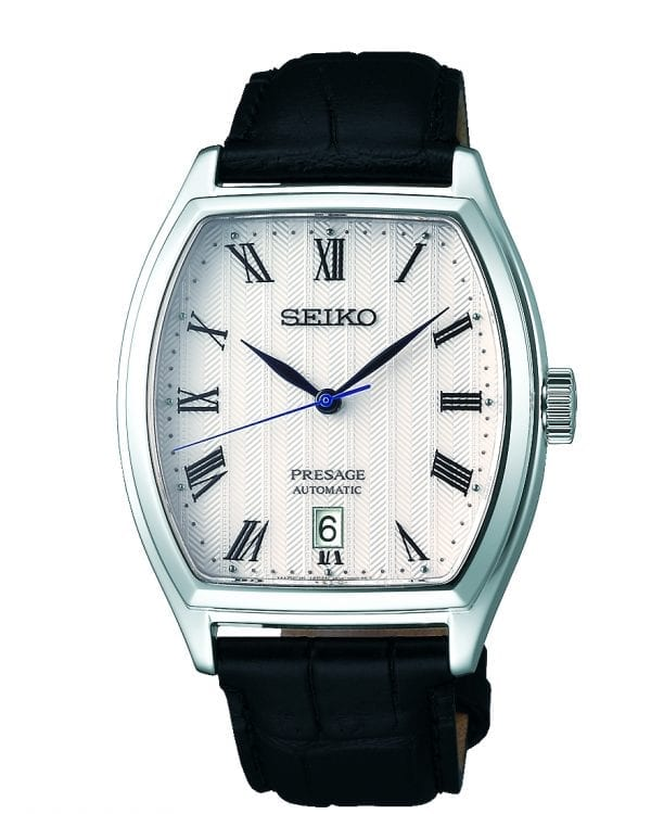 Seiko Presage Automatic Tonneau Case Black Leather Strap Mens Watch SRPD05J1 37mmThe watches dial features a white pattern perfected by the experts in Seiko's facilities located in Japan, offering high quality and value. The display includes three hands, those of which are hour, minute and second hands. A date window is located just above the 6 o'clock position with the ever present Seiko logo appearing at 12 o'clock. The epic timepiece is paired with ablack calfskin leather strap and a three fold clasp with push button release.This automatic movement also has a manual wind feature. The dial is protected by a unique curved sapphire glass. All in all, this makes for a perfect dress watch.Key Features:Stainless Steel CaseCurved Sapphire GlassCalfskin StrapCaliber: 4R35Automatic MovementManual Winding CapacityDuration Approximately 41 Hours+45 to -35 seconds a dayThree Fold Clasp With Push Button RelaseSplash Resistant23 JewelsCase Back With 4 ScrewsDate DisplaySee-Through Case BackStop Second Hand FunctionThe Brand: SeikoSeiko's 135-year history has been marked by a ceaseless determination to innovate in every aspect of the watchmaker's art. By embracing this mantra, Seiko has been responsible for a string of industry-leading advances in the technology of time, such as the world's first quartz watch, the world's first TV watch, and the Seiko Kinetic, the first watch ever to generate its own electricity from the movement of the wearer. Seiko are unique in that they manufacture every aspect of every watch in-house, with this ruthless pursuit of perfection even including growing their own quartz crystals and sapphires.