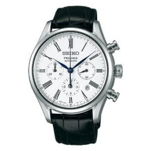 Seiko Presage Automatic White Enamel Dial Black Leather Strap Men's Watch SRQ023J1 RRP £2,000