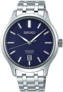 Seiko Presage Zen Garden Silver Stainless Steel Blue Dial Automatic Men's Watch SRPD41J1 42mmThis Seiko Presage Zen Garden Silver Stainless Steel Blue Dial Automatic Men's Watch SRPD41J1 42mm is inspired by beautiful Japanese gardens, introducing dials in calming new colours with a delicate pressed pattern. The pattern on the  darkblue dial resembles that of a pond in the night sky. There is a simplistic date window adjacent to the 6 o'clock index. The grey hands are powered by an automatic 4R35 23 jewel movement. The dial is protected by a silver stainless steel case and sapphire crystal glass. Finally, a silver stainless steel bracelet is fastened using a push button clasp.This watch has a water resistance of 30 metres, making it suitable for light splashes.For all you Seiko enthusiasts, this premium timepiece has been made and produced in Japan, indicated by the suffix 'J'. Seiko watches made in Japan are notoriously hard to obtain outside of Japan due to the highest quality of craftmanship and astonishing features that come in each individual timepiece. We have a range of Japanese watches here at Watchnation but in limited quantities, so if you are looking to add to your collection then this is the perfect place for you.Key Features:Presage FamilyZen Garden StyleAutomatic MovementDark Blue DialSilver Stainless Steel Bracelet4R35 Calibre Engine+-45 Seconds Per DaySilver Stainless Steel CaseDate DisplaySapphire Crystal GlassPush Button Deployment30m Water Resistant23 Jewels The Brand: SeikoSeiko's 135-year history has been marked by a ceaseless determination to innovate in every aspect of the watchmaker's art. By embracing this mantra, Seiko has been responsible for a string of industry-leading advances in the technology of time, such as the world's first quartz watch, the world's first TV watch, and the Seiko Kinetic, the first watch ever to generate its own electricity from the movement of the wearer. Seiko are unique in that they manufacture every aspect of every watch in-house, with this ruthless pursuit of perfection even including growing their own quartz crystals and sapphires.
