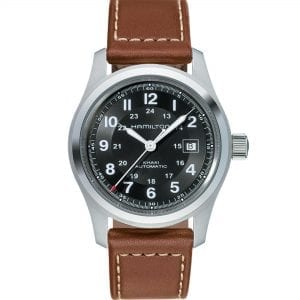Hamilton Khaki Field 'The Avengers' Automatic Black Dial Brown Leather Strap Men's Watch H70555533 RRP £465