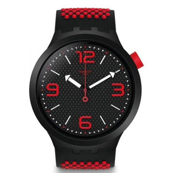 Swatch Big Bold BBBlood Quartz Black Red Silicone Mens Watch SO27B102 47mmThis Swatch Big Bold BBBlood Quartz Black Red Silicone Mens Watch SO27B102 47mm is a striking addition to the Swatch brand. A black patterned dial is complimented by red accents including Arabic markers at every 3 hour interval. The hands are in the shape of arrows, pointing you in the right direction, which in turn are powered by a quartz movement. Plexiglass and a black plastic case are used to protect the simple yet striking dial. A black and red silicone strap can then be fastened using a standard buckle.This watch has a water resistance of 30 metres, making it suitable for light splashes. Key Features:Big Bold FamilyQuartz MovementBlack Red Silicone StrapBlack Plastic CaseStandard BuckleBlack Dial30m Water Resistant  The Family: Big BoldBig Bold is a new 2019 range from Swatch. These watches are inspired by bold ideas with an urban style, 47mm case size and arrows as hands to point you in the right direction. The Brand: SwatchSwatch watches are globally-renowned for their trademark combination of quality Swiss watchmaking, pioneering use of plastic cases and straps, and eye-catching designs. There is a Swatch watch to suit every age, taste and lifestyle, with this variety and sense of difference ensuring that Swatch watches remain some of the most popular and sought after currently manufactured.
