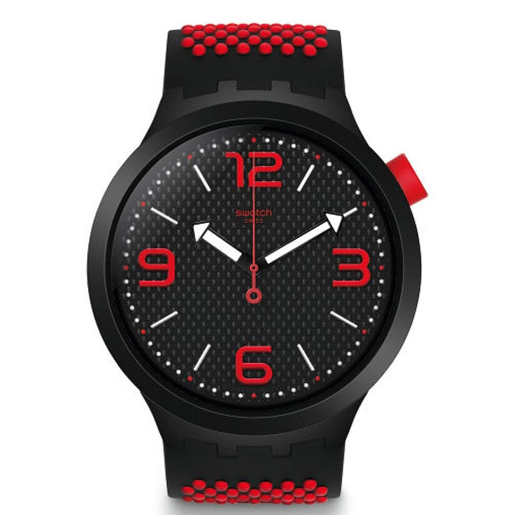 Swatch Big Bold BBBlood Quartz Black Red Silicone Mens Watch SO27B102 47mmThis Swatch Big Bold BBBlood Quartz Black Red Silicone Mens Watch SO27B102 47mm is a striking addition to the Swatch brand. A black patterned dial is complimented by red accents including Arabic markers at every 3 hour interval. The hands are in the shape of arrows, pointing you in the right direction, which in turn are powered by a quartz movement. Plexiglass and a black plastic case are used to protect the simple yet striking dial. A black and red silicone strap can then be fastened using a standard buckle.This watch has a water resistance of 30 metres, making it suitable for light splashes.Key Features:Big Bold FamilyQuartz MovementBlack Red Silicone StrapBlack Plastic CaseStandard BuckleBlack Dial30m Water ResistantThe Family: Big BoldBig Bold is a new 2019 range from Swatch. These watches are inspired by bold ideas with an urban style, 47mm case size and arrows as hands to point you in the right direction.The Brand: SwatchSwatch watches are globally-renowned for their trademark combination of quality Swiss watchmaking, pioneering use of plastic cases and straps, and eye-catching designs. There is a Swatch watch to suit every age, taste and lifestyle, with this variety and sense of difference ensuring that Swatch watches remain some of the most popular and sought after currently manufactured.