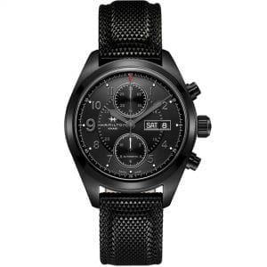 Hamilton Khaki Field 'Jack Ryan' Automatic Black Dial Synthetic Strap Chronograph Men's Watch H71626735 RRP £1,625