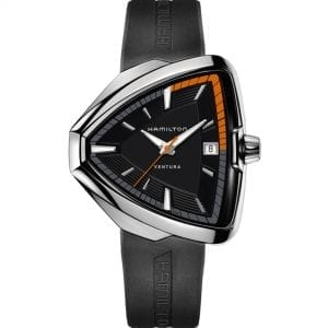 Hamilton Ventura Elvis80 Elvis Presley Quartz Triangular Black Dial Rubber Strap Men's Watch H24551331 RRP £870