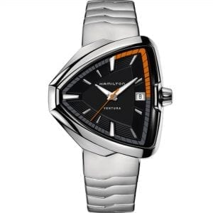Hamilton Ventura Elvis80 Quartz Black Triangular Dial Silver Ebel Wave Stainless Steel Bracelet Men's Watch H24551131 RRP £940