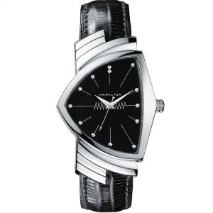 Hamilton Ventura 1957 Recreation 'Men In Black' Quartz Black Dial Leather Strap Men's Watch H24411732 RRP £690