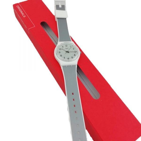 Swatch Icy Gum Quartz Grey Dial Silicone Strap Men's Watch GW211 RRP £58