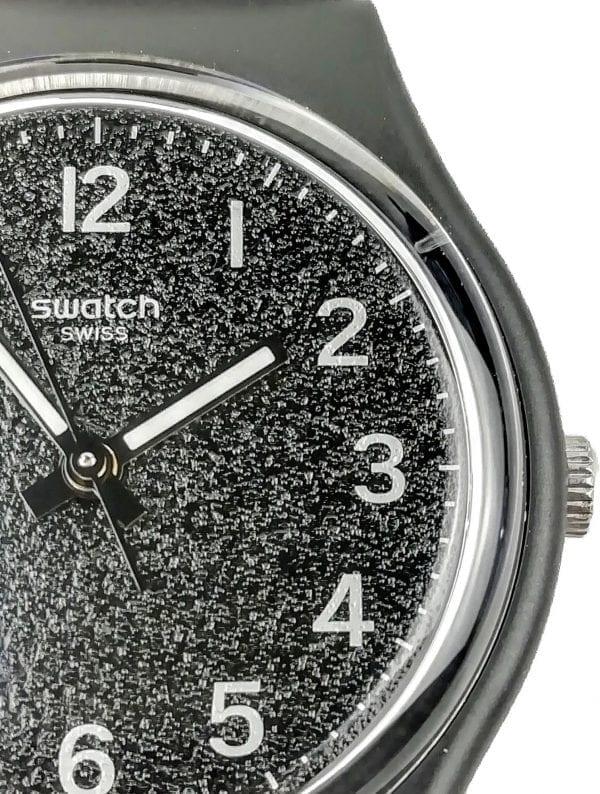 Swatch Lico Gum Quartz Black Dial Silicone Strap Men's Watch GB326 RRP £58