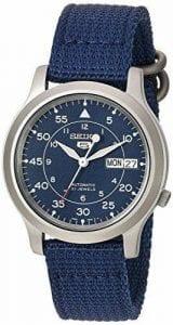 Seiko 5 Automatic Blue Dial Military Style NATO Canvas Strap Men's Watch