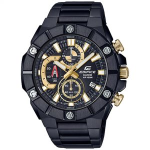 Casio Edifice Quartz Black Dial IP Plated Steel Oyster Bracelet Chronograph Men's Watch EFR-569DC-1AVUEF RRP £350