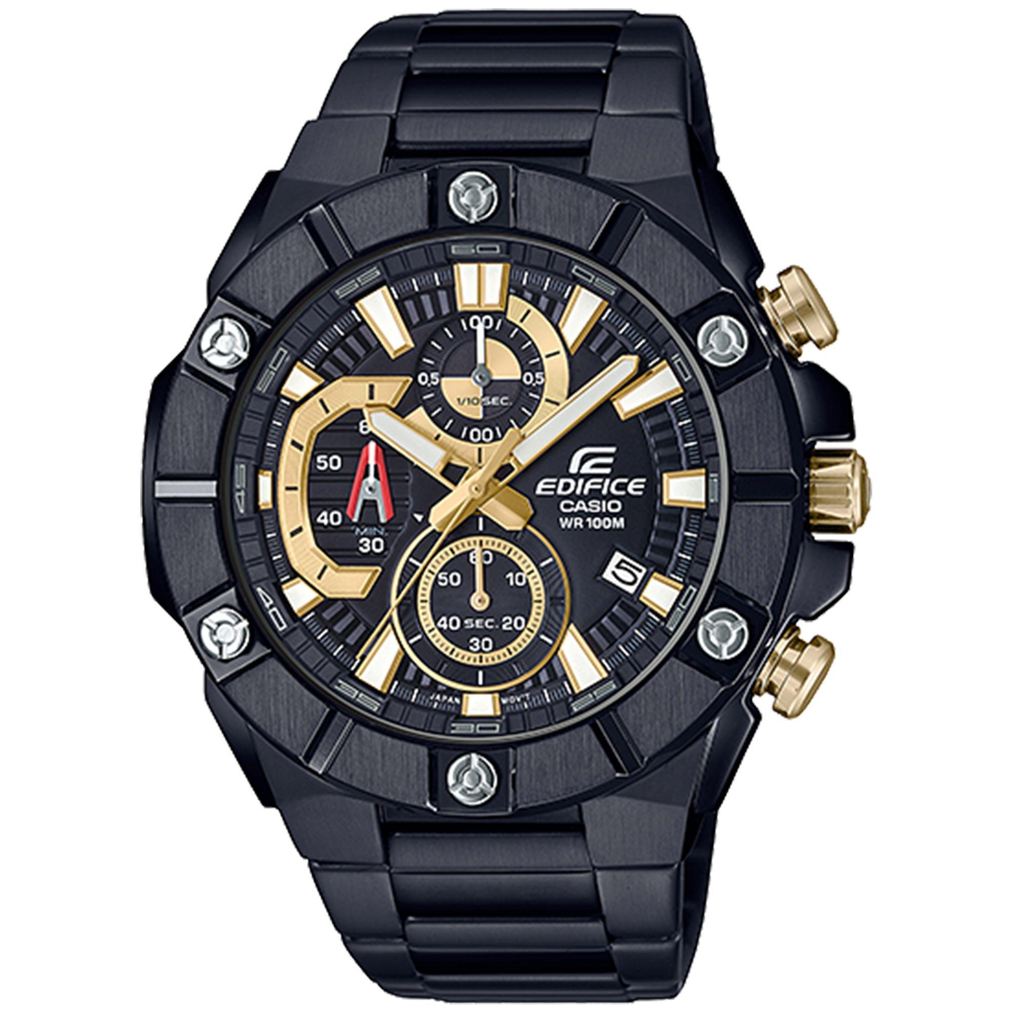 Casio Edifice Quartz Black Dial IP Plated Steel Oyster Bracelet Chronograph Men's Watch EFR-569DC-1AVUEF RRP £350