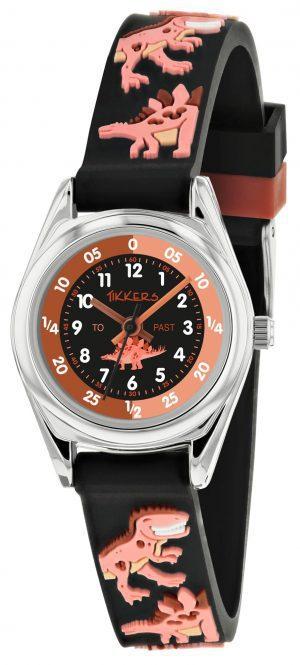 Tikkers Time Teacher Quartz Black Dinosaur Silicone Strap Boys Watch TK0185