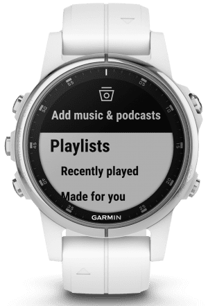 Garmin Fenix 5S Plus Mens Smartwatch 010-01987-01 42mmThisGarminFenix 5S Plus Mens Smartwatch 010-01987-01 42mm showcases the advances of the watchmaking industry. The 010-01987-01 has a hybrid display of both analogue and digital. The screen can be customised to suit your preferences including colour. This watch is part of theFenix family making it perfect for fitness fanatics as well as people who enjoy an adventure or hike. The watch also has downloadable training apps to help tailor your workout. The dial is touch screen and customisable, ensuring easy usability for your messaging and alerts. The advanced dial is protected by a fibre-reinforced polymer case and chenically strengthened glass. To equip this timepiece a silicone strap is fastened comfortably around ones wrist using a standard buckle.This watch has a water resistance rating of 100 metres, making it suitable for swimming but should not be submerged to significant depths.Key Features:7 Day Smart Mode Battery LifeSleep MonitoringDownloadable Training PlansHeart RatePlays & Controls MusicActivity HistoryHeart Rate AlertsFoot Pod CapableCustomisable ScreenVO2 MaxCustomisable AlertsMove BarUp to 1000 SongsGym Activity ProfilesCalendarAltimeterWeatherAutolapFloors Climbed% Max Heart RatesFibre-Reinforced Polymer CaseOutdoor Recreation Profiles100m Water ResistantBluetooth, WiFi CompatibleFind My PhoneRun ProfilesStopwatchFind My WatchiPhone, Android CompatibleTermometerTimerAlarmSwim ProfilesSmart NotificationsGarmin PayTime/DateCalorie TrackerStep CounterStress TrackingCompassDistance TravelledFitness AgeThe Family: Fenix 5 PlusThis family is built for athletes and adventurers alike, with the ability to bring your music and maps with you. These premium-crafted and rugged timepieces feature routable mapping as well as storage up to 1000 songs and contactless Garmin Pay solution.The Brand: GarminGarmin is a highly advanced technology company founded in 1989. At a small glance Garmin produces and supplies GP