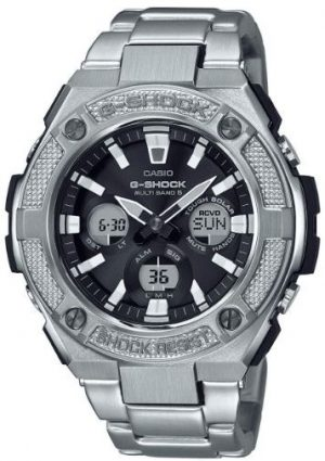 "Casio G-Steel Solar Military Street Radio Controlled Silver Stainless Steel Men's WatchThis attractive Casio G-Steel Solar Military Street Radio Controlled Silver Stainless Steel Men's Watch is tough enough to earn the status of the G-Shock family. Also, the watch has a black dial packed with plenty of features. Furthermore, starting at the 12 o'clock position is the classic Casio logo with chronographs appearing at each 3 hour interval. Moreover, the chronographs consists of day/date, alarm, countdown & stopwatch. The dial is protected by a tough silver stainless steel case and hard glass. Additionally, to equip this watch a silver stainless steel bracelet is fastened using a deployment clasp to sit comfortably around ones wrist.Finally, this watch has a water resistance of 200 metres, making it suitable for diving.Key Features:G-Shock FamilyG-Steel SeriesMilitary StreetSolar MovementRadio ControlledShock ResistantBlack DialAlarmAnalogue/Digital DisplaySilver Stainless Steel CaseSilver Stainless Steel Bracelet200m Water ResistantDeployment ClaspThe Family: G-ShockAt a time when watches were seen as fragile, delicate instruments, Casio's head of watch design, Kikuo Ibe, set out in 1981 to create ""a watch that doesn't break, even when dropped."" After 200 prototypes and two years of development, the Casio G-Shock was launched in 1983. Gaining its now legendary toughness from Ibe's revolutionary decision to suspend the module inside a hollow rubber structure, the G-Shock has been the go-to name in superbly durable and precise wristwear ever since.The Brand: CasioCasio was established in 1946 by Japanese engineer Tadao Kashio. Firstly, the company entered the timepiece market in 1974 with the release of the Casiotron, the world's first Auto Calendar watch. Only eleven years after entering this field, Casio completely reshaped global thought about the function a watch should perform with the release of the pioneering and now legendary G-Shock family. Innovation and world firsts have defined the company's history ever since, the most striking of these being the release of the first ever touch screen watch in 1991, 24 years before the Apple Watch, and the first ever wrist camera watch in 2000. In short, Casio was producing smartwatches decades before the term had even been coined. Add to this the hipster popularity of the company's retro designs, and Casio has firmly cemented its reputation as a famously reliable and precise name in both analog and digital watches.Also, if you have any questions please click hereClick here to join our facebook and Instagram!"