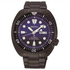 Seiko Prospex Turtle Save The Ocean Automatic Blue Dial Mens Watch SRPD11K1 45mmPart of Seiko's Save the Ocean series, this SeikoProspex Turtle Save The Ocean Automatic Blue Dial Mens Watch SRPD11K1 45mm is a stunning addition to the Prospex lineup. As is the case with the entire Save the Ocean range, every watch sold results in a donation to the Fabian Costeau Ocean Learning Centre, an organisation founded to preserve and protect the world's oceans. Added to this is legendary Seiko dive watchmaking expertise, shown in features such as the Lumi Brite hands, indexes and unidirectional rotating bezel.This epic timepiece is perfect for those who seek the thrill of diving with a water resistance of 200 meters or 20ATM.Key Features:Black Stainless Steel CaseHardlex GlassCaliber: 4R36Automatic MovementManual Winding CapacityDuration Approximately 41 Hours+45 to -35 Seconds Per DayThree Fold Clasp & Push Button ReleaseLumibrite On Hands & Indexes200m Water Resistant24 JewelsDay/Date DisplayScrew Case BackScrew Down CrownStop Second Hand FunctionUnidirectional Rotating BezelThe Family: ProspexThe Seiko Prospex family uses Seiko's innovative ethos to combat the watchmaker's greatest challenge, adventure sports. Whether at sea, on land or in the sky, this collection of timepieces will deliver trademark Seiko precision and reliability in even the most adverse of weather conditions.The Brand: SeikoSeiko's 135-year history has been marked by a ceaseless determination to innovate in every aspect of the watchmaker's art. By embracing this mantra, Seiko has been responsible for a string of industry-leading advances in the technology of time, such as the world's first quartz watch, the world's first TV watch, and the Seiko Kinetic, the first watch ever to generate its own electricity from the movement of the wearer. Seiko are unique in that they manufacture every aspect of every watch in-house, with this ruthless pursuit of perfection even including growing their own quartz crystals