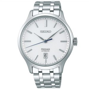 Seiko Presage Silver Stainless Steel White Dial Automatic Men's Watch SRPD39J1 42mmThis Seiko Presage Silver Stainless Steel White Dial Automatic Men's Watch SRPD39J1 42mm is a premium addition to the Presage family. A simplistic white dial is complimented by silver indexes and hands, which are powered by a 4R35 23 jewel automatic movement. At the 6 o'clock position is a simplistic date window with the ever present Seiko logo at the top of the dial. The dial is protected by sapphire glass and a silver stainless steel case. Finally, a silver stainless steel bracelet can be fastened using a deployment clasp.This watch has a water resistance of 30 metres, making it suitable for light splashes.Key Features:Presage FamilySilver Stainless Steel BraceletSilver Stainless Steel CaseWhite DialDate Window4R35 CalibreAutomatic MovementSapphire Glass+-45 Seconds Per Month41 Hour DurationDeployment Clasp30m Water ResistantScrew Case BackSeethrough Case Back23 JewelsThe Family: PresageThe Presage family brings fine traditional watchmaking all the way from Seiko's home of Japan. The watches in this range combine Japanese culture and traditional craftmanship, the elegant timepieces at the pinnacle of the Presage collection present the aesthetic sense of Japan to the world.The Brand: SeikoSeiko's 135-year history has been marked by a ceaseless determination to innovate in every aspect of the watchmaker's art. By embracing this mantra, Seiko has been responsible for a string of industry-leading advances in the technology of time, such as the world's first quartz watch, the world's first TV watch, and the Seiko Kinetic, the first watch ever to generate its own electricity from the movement of the wearer. Seiko are unique in that they manufacture every aspect of every watch in-house, with this ruthless pursuit of perfection even including growing their own quartz crystals and sapphires.
