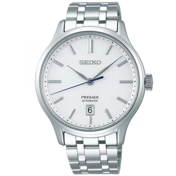 Seiko Presage Silver Stainless Steel White Dial Automatic Men's Watch SRPD39J1 42mmThisSeiko Presage Silver Stainless Steel White Dial Automatic Men's Watch SRPD39J1 42mm is a premium addition to the Presage family. A simplistic white dial is complimented by silver indexes and hands, which are powered by a 4R35 23 jewel automatic movement. At the 6 o'clock position is a simplistic date window with the ever present Seiko logo at the top of the dial. The dial is protected by sapphire glass and a silver stainless steel case. Finally, a silver stainless steel bracelet can be fastened using a deployment clasp.This watch has a water resistance of 30 metres, making it suitable for light splashes.Key Features:Presage FamilySilver Stainless Steel BraceletSilver Stainless Steel CaseWhite DialDate Window4R35 CalibreAutomatic MovementSapphire Glass+-45 Seconds Per Month41 Hour DurationDeployment Clasp30m Water ResistantScrew Case BackSeethrough Case Back23 JewelsThe Family: PresageThe Presage family brings fine traditional watchmaking all the way from Seiko's home of Japan. The watches in this range combine Japanese culture and traditional craftmanship, the elegant timepieces at the pinnacle of the Presage collection present the aesthetic sense of Japan to the world.The Brand: SeikoSeiko's 135-year history has been marked by a ceaseless determination to innovate in every aspect of the watchmaker's art. By embracing this mantra, Seiko has been responsible for a string of industry-leading advances in the technology of time, such as the world's first quartz watch, the world's first TV watch, and the Seiko Kinetic, the first watch ever to generate its own electricity from the movement of the wearer. Seiko are unique in that they manufacture every aspect of every watch in-house, with this ruthless pursuit of perfection even including growing their own quartz crystals and sapphires.