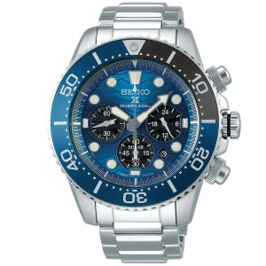 Seiko Special Edition Prospex Chronograph Save The Ocean 'Great White' Silver Steel Blue DialSolar Men's Watch SSC741P1Part of Seiko's Save the Ocean series, this Seiko Special Edition Prospex Chronograph Save The Ocean 'Great White' Silver Steel Blue Dial Solar Men's Watch SSC741P1 is a stunning addition to the Prospex lineup. As is the case with the entire Save the Ocean range, every watch sold results in a donation to the Fabian Costeau Ocean Learning Centre, an organisation founded to preserve and protect the world's oceans. The blue dial has a wave pattern throughout just like the body of water it has been inspired from. At the 8 o'clock position is a secret shark fin breaching the surface of water on the dial. Additionally, the end of the second hand is in the shape of a sharks fin. Inbetween the 4 and 5 o'clock position is a simplistic date window with chronographs accurate up to 60 seconds appearing at the 3, 6 & 9 positions. The indexes and hands, of which are coated in a luminiscent material to see in the dark, are powered by a precise V175 solar movement. The dial is then protected by a stainless steel case and hardlex crystal glass. Ontop of the case is a blue gradient bezel again representing diving to the depths of the ocean. Finally, a silver stainless steel bracelet is fastened using a three fold clasp.This epic timepiece is perfect for those who seek the thrill of diving with a water resistance of 200 meters or 20ATM.Key Features:SilverStainless Steel CaseHardlex CrystalSilver Stainless Steel BraceletCalibre: V175SolarMovementManual Winding CapacityDuration Approximately 41 HoursLumiBrite On Hands & Indexes200m Water Resistant23 JewelsDate DisplayScrew Case BackScrew-Down CrownThree-fold ClaspUnidirectional Rotating BezelChronographThe Family: ProspexThe Seiko Prospex family uses Seiko's innovative ethos to combat the watchmaker's greatest challenge, adventure sports. Whether at sea, on land or in the sky, this collection of timepieces will deliver 