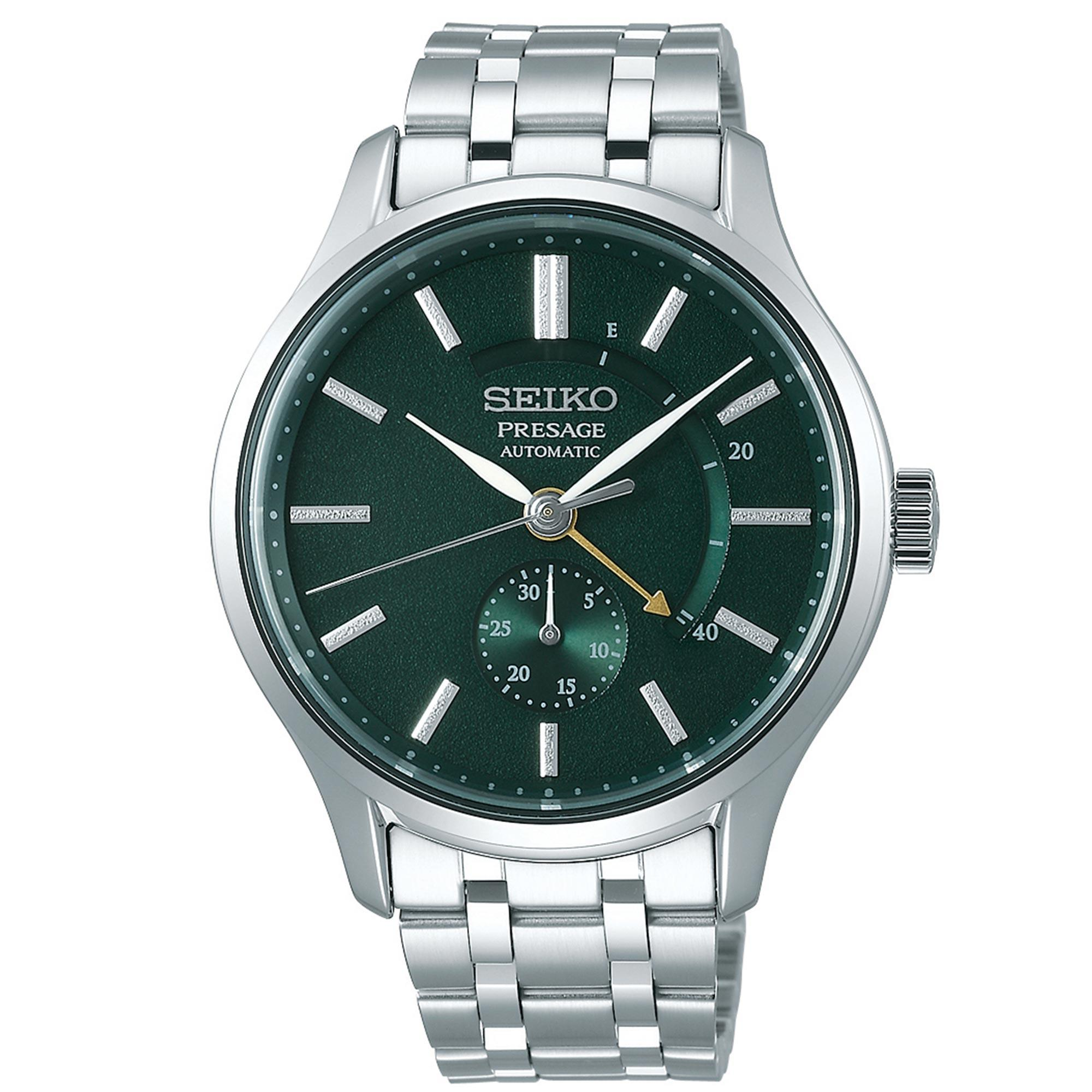 Seiko Presage Zen Garden Silver Stainless Steel Green Dial Automatic Men's Watch SSA397J1 42mmThis Seiko Presage Zen Garden Silver Stainless Steel Green Dial Automatic Men's Watch SSA397J1 42mm allows you to step into serenity. This timepiece is inspired by beautiful Japanese gardens, with a dial in a calming white delicately pressed pattern. The marbled pattern is also seen on the index surfaces, reminiscent of stepping stones across soothing green moss. A golden hand in the shape of an arrow is used to indicate the power reserve of the timepiece, which can reach a maximum of 41 hours. At the 6 o'clock position is a subdial which is used to display the date of the month. Protecting the dial is a silver stainless case as well as sapphire crystal glass. Finally, a silver stainless steel bracelet can be fastened using a folding clasp.This watch has a water resistance of 30 metres, making it suitable for light splashes.For all you Seiko enthusiasts, this premium timepiece has been made and produced in Japan, indicated by the suffix 'J'. Seiko watches made in Japan are notoriously hard to obtain outside of Japan due to the highest quality of craftmanship and astonishing features that come in each individual timepiece. We have a range of Japanese watches here at Watchnation but in limited quantities, so if you are looking to add to your collection then this is the perfect place for you.Key Features:Presage FamilyZen Garden SeriesSilver Stainless Steel CaseSilver Stainless Steel BraceletGreen DialAutomatic MovementPower ReserveMarble Pattern Dial30m Water ResistantSapphire Crystal GlassExhibition Case BackFolding Clasp4R57 Caliber Engine29 Jewels41 Hour Power ReserveDate WindowThe Brand: SeikoSeiko's 135-year history has been marked by a ceaseless determination to innovate in every aspect of the watchmaker's art. By embracing this mantra, Seiko has been responsible for a string of industry-leading advances in the technology of time, such as the world's first quartz watch, the world's first TV watch, and the Seiko Kinetic, the first watch ever to generate its own electricity from the movement of the wearer. Seiko are unique in that they manufacture every aspect of every watch in-house, with this ruthless pursuit of perfection even including growing their own quartz crystals and sapphires.