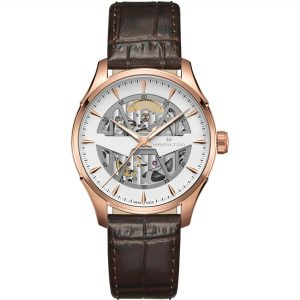 Hamilton Jazzmaster Automatic Skeleton Dial Brown Leather Strap Watch H42505510 RRP £1,170