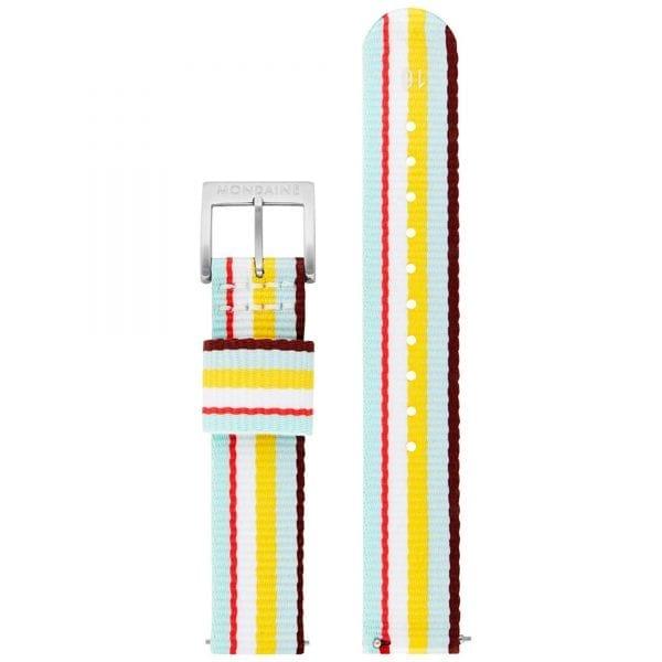 Mondaine Classic Multicolour Textile Strap White Dial Quartz Men's Watch A658.30323.16SBK 30mm