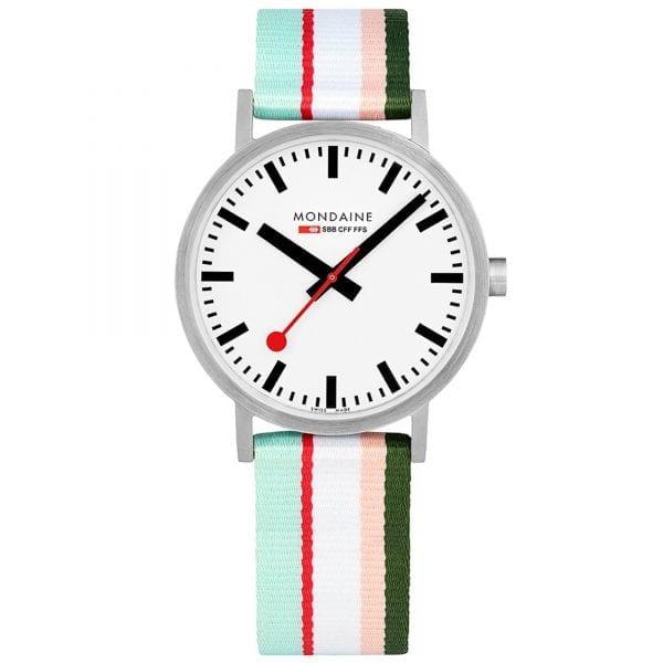 Mondaine Classic Multicoloured Textile Strap White Dial Quartz Men's Watch A660.30360.16SBS 40mm