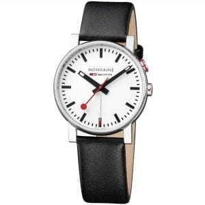 Mondaine Evo Alarm Stainless Steel Case Black Leather Strap Men's Watch A468.30352.11SBB 40mm