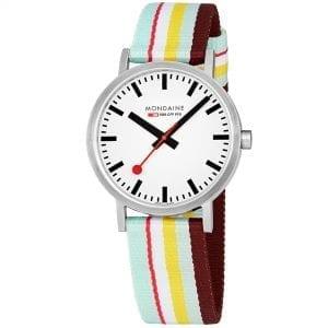 Mondaine Classic Multicoloured Textile Strap White Dial Quartz Men's Watch A660.30360.16SBK 40mm