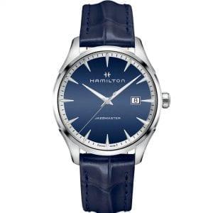 Hamilton Blue Jazzmaster Gent Stainless Steel Case Blue Leather Strap Men's Watch H32451641 40mm