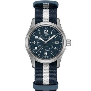 Hamilton Khaki Field Stainless Steel Case NATO Strap Blue Dial Quartz Men's Watch H68201043 38mm