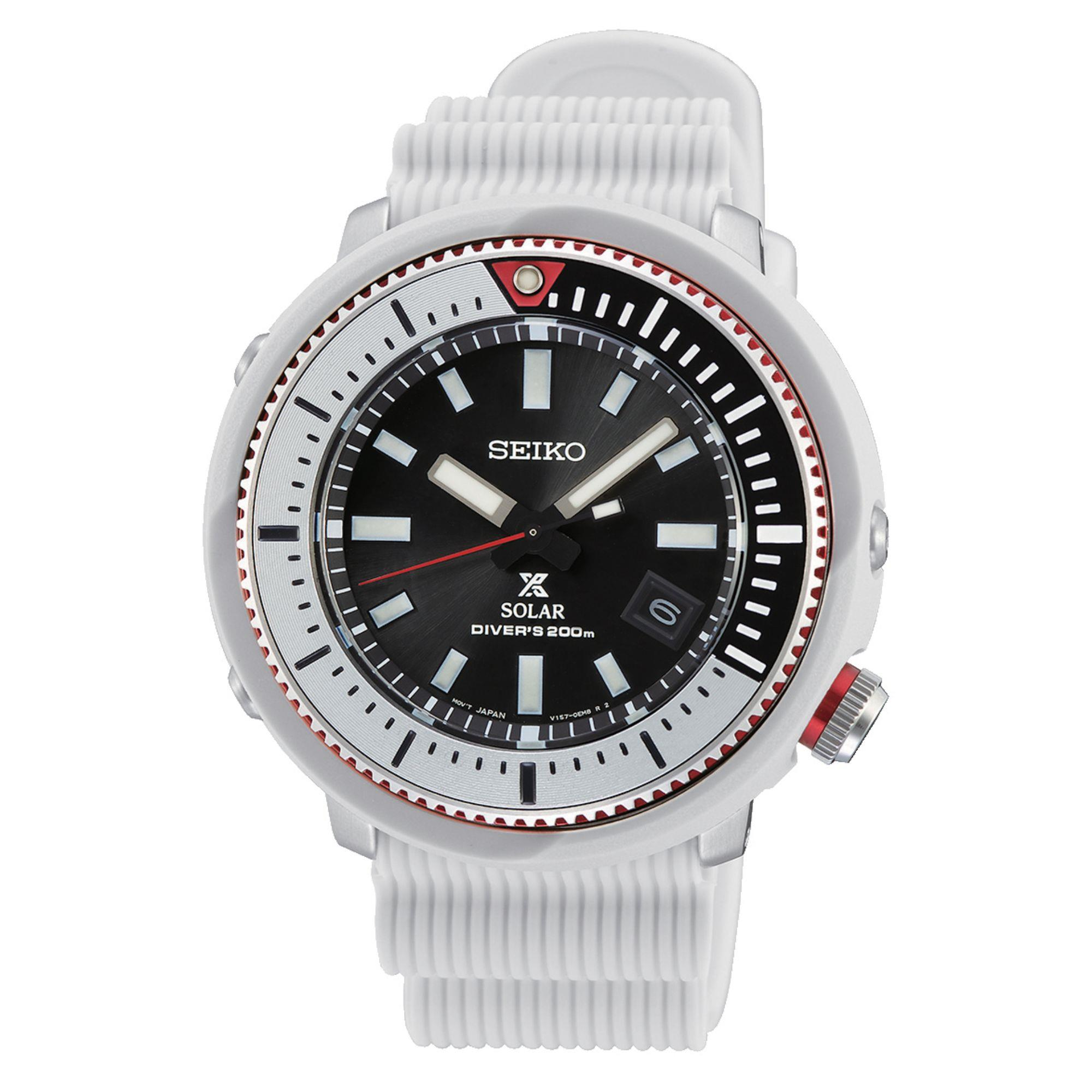 Seiko Prospex Street Series 'Tuna' Solar Black Dial White Silicone Strap Men's Watch SNE545P1
