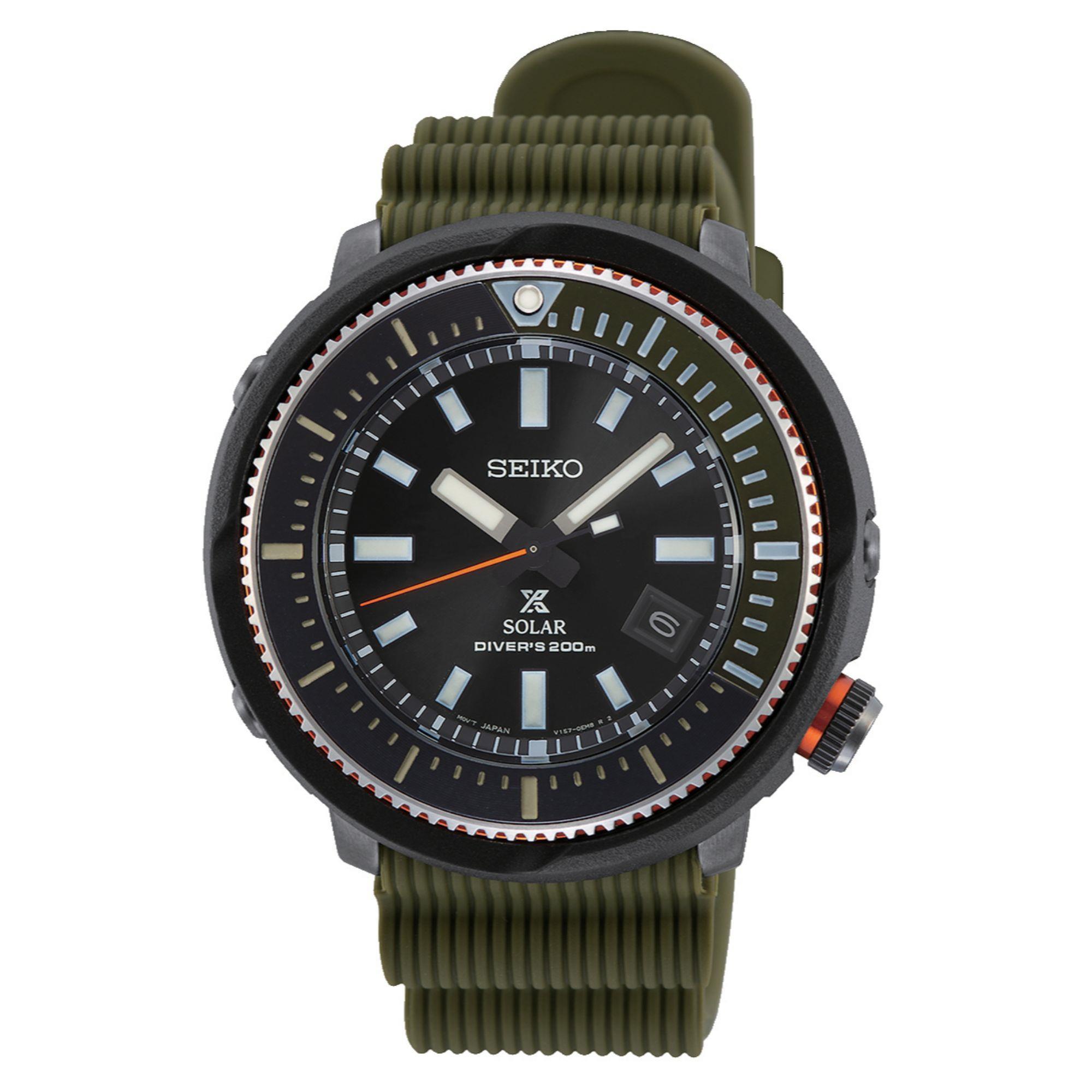 Seiko Prospex Street Series 'Tuna' Solar Black Dial Khaki Green Silicone Strap Men's Watch SNE547P1