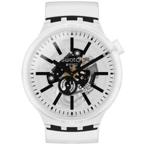 Swatch Big Bold BlackInJelly Quartz Transparent Dial Silicone Strap Watch SO27E101 RRP £85
