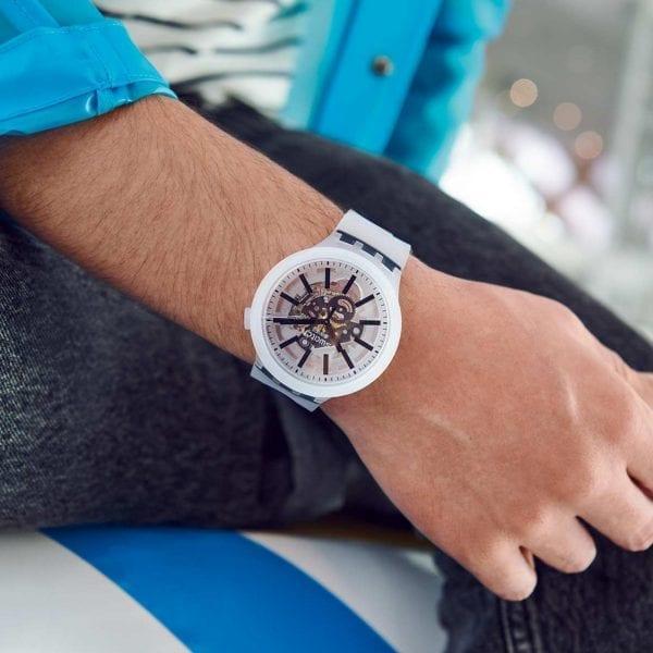 Swatch Big Bold BlackInJelly Quartz Transparent Dial Silicone Strap Watch SO27E101 RRP £85