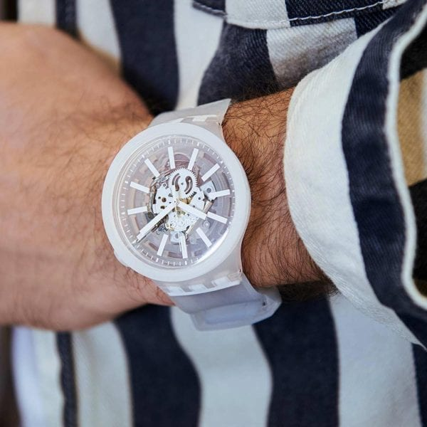 Swatch Big Bold WhiteInJelly Quartz Transparent Dial Silicone Strap Watch SO27E106 RRP £85