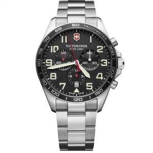 Victorinox Swiss Army FieldForce Chronograph Silver Steel Black Dial Quartz Men's Watch 241855ThisVictorinox Swiss Army FieldForce Chronograph Silver Steel Black Dial Quartz Men's Watch 241855is a sporty, serious and masculine timepiece that thrives in any situation. Replacing the 12 o'clock index is the ever present Victorinox Swiss Army logo to bring out the serious side of the watch. There are three chronographs on the dial which is in such a formation that it resembles a panda's face, earning the nickname 'panda dial'. The chronographs are used to measure time seperately, which in addition to the tachymeter brings out the sporty side to the timepiece. Furthermore, a date window can be found replacing the 6 o'clock index. The indexes and hands, of which are powered by a quartz Ronda 5030.D movement, are coated in Super-LumiNova for easy day and night readability. Protecting the dial is a stainless steel case with the diameter of 42mm, bringing out the last feature of this timepiece, masculinity. A silver stainless steel bracelet then sits comfortably around your wrist by fastening a fold over clasp.This watch has a water resistance of 100 metres, making it suitable for swimming and snorkelling.Key Features:Analogue DisplayQuartz MovementRonda 5030.DChronographTachymeterDate WindowBlack DialSilver Stainless Steel BraceletSwiss MadeSuper-LumiNovaFold Over Clasp100m Water ResistantFixed BezelGenerously Sized Hands & Indexes42mm CaseThe Family: FieldForceBlending iconic Victorinox design with a gear-shifting display technology, the FieldForce Collection is a force of its own. It's all about readability in any conditions, with bold, distinct numerals and generously sized hands enchanced with Super-LumiNova. And it's not only the features that are distinct. This range exudes a confident, classic style all of its own, without forgetting its Swiss Army Knife heritage. Distinction is in its DNA.The Brand: VictorinoxVictorinox Swiss Army is defined by the spirit of innovat