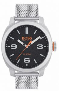 The Watch: Hugo Boss Orange Cape Town Stainless Steel Mesh Strap Stainless Steel Case Men's Watch 1550013In a homage to the mountainous city from which it takes its name, this Hugo Boss Orange Cape Town Stainless Steel Men's Watch (1550013) features a confident stainless steel mesh bracelet and case, with a sleek and contemporary dial design ensuring this sense of adventure is underpinned by the Hugo Boss design ethos. Key Features:Quartz MovementBlack DialStainless Steel Mesh BraceletWater Resistant to 50m The Family: Cape TownAs rugged as the mountainous city from which it takes its name, the Hugo Boss Orange Cape Town collection sports an outdoor look while still retaining signature Hugo Boss styling. The Brand: Hugo Boss OrangeHugo Boss set up his first clothing factory in Metznigen, Germany in 1924, but it wasn't until 1999 that the Hugo Boss Orange line was introduced. Aiming to bring trademark Hugo Boss elegance to a younger, more hip market, Hugo Boss Orange currently sits as the company's most in-demand ranges, ensuring that one of the world's premier fashion lines remains as relevant as ever in the modern world.