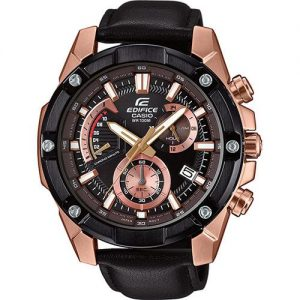 Casio Edifice Quartz Black Rose Gold PVD Stainless Steel Chronograph Men's WatchThis Casio Edifice Black Rose Gold Stainless Steel Chronograph Men's Watch EFR-559BGL-1AVUEF 50mm is an excellent addition to the edifice collection. Starting off with the dial, the black dial has been blended with a rose gold colour to create a beautiful dial. At the 12 o'clock position is the ever present Casio logo as well as the family, edifice. There are three chronographs on the dial as well as simplistic date window adjacent to the 4 o'clock position. The three chronographs are; 24 hour, 60 seconds and a chronominute counter. A black and rose gold stainless steel case sits around the edge of the dial as well as mineral glass, providing the protection it needs. A black leather strap is fastened using a standard buckle to sit comfortably around ones wrist.This watch has a water resistance of 100 metres, making it suitable for swimming but should not be submerged to any significant depths.Key Features:Edifice FamilyChronographBlack & Rose Gold Stainless Steel100m Water ResistantDate WindowNeo DisplayStopwatchMineral GlassBlack Leather StrapStandard Buckle3 Year Battery LifeClassic StyleQuartz MovementAnalogue DisplayThe Brand: CasioCasio was established in 1946 by Japanese engineer Tadao Kashio. The company entered the timepiece market in 1974 with the release of the Casiotron, the world's first Auto Calendar watch. Only eleven years after entering this field, Casio completely reshaped global thought about the function a watch should perform with the release of the pioneering and now legendary G-Shock family. Innovation and world firsts have defined the company's history ever since, the most striking of these being the release of the first ever touch screen watch in 1991, 24 years before the Apple Watch, and the first ever wrist camera watch in 2000. In short, Casio was producing smartwatches decades before the term had even been coined. Add to this the hipster popularity of the company's retro designs, and Casio has firmly cemented its reputation as a famously reliable and precise name in both analogue and digital watches. If you have any questions please click hereClick here to join our facebook and Instagram!