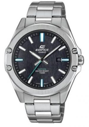 Casio Edifice Slim Style Black Dial Silver Stainless Steel Quartz Men's Watch EFR-S107D-1AVUEFThisCasio Edifice Slim Style Black Dial Silver Stainless Steel Quartz Men's Watch EFR-S567D-1AVUEF provides speed and intelligence to set the pace ahead of the pack. A black dial is complimented by white, blue and grey indexes and hands, of which are powered by a quartz movement. At the 3 o'clock position is a simplstic date window with the ever present Casio Edifice logo at the 12 o'clock position. Surrounding the dial is a silver stainless steel case and sapphire crystal glass with a silver stainless steel bracelet fastened with a safety clasp.This watch has a water resistance of 100 metres, making it suitable for swimming and snorkelling.Key Features:Edifice FamilySlim StyleBlack DialSilver Stainless Steel CaseSilver Stainless Steel BraceletQuartz Movement100m Water ResistantSapphire Crystal GlassDate WindowThe Family: EdificeCasio's Edifice collection takes its aesthetic inspiration from F1 cars, resulting in a collection of timepieces that combine dynamic form with intricately detailed watch faces. Higher end models feature Casio's exclusive Multi Mission Drive movement, in which the watch is comprised of five separate motors to ensure that power is never diverted from the hands. Designed to offer what Casio say will be 'Speed and Intelligence,' the Edifice range offers motorsport precision engineering in a watch.The Brand: CasioCasio was established in 1946 by Japanese engineer Tadao Kashio. The company entered the timepiece market in 1974 with the release of the Casiotron, the world's first Auto Calendar watch. Only eleven years after entering this field, Casio completely reshaped global thought about the function a watch should perform with the release of the pioneering and now legendary G-Shock family. Innovation and world firsts have defined the company's history ever since, the most striking of these being the release of the first ever touch screen watch in 1991,