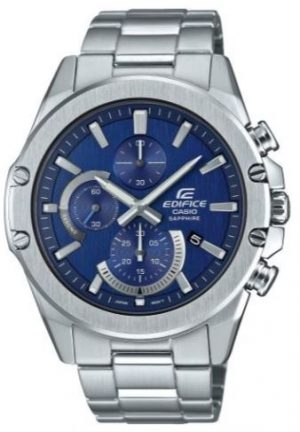 Casio Edifice Slim Style Blue Dial Silver Stainless Steel Quartz Men's Watch EFR-S567D-2AVUEFThis Casio Edifice Slim Style Blue Dial Silver Stainless Steel Quartz Men's Watch EFR-S567D-2AVUEF provides speed and intelligence to set the pace ahead of the pack.Three chronographs of which are accurate from one tenth of a second up to an hour sit at the 12, 6 and 9 o'clock position. Of which is powered by a quartz movement, a simplistic date window sits adjacent to the 4 o'clock position. Additionally, the ever present Casio Edifice sits adjacent to the 3 o'clock index. Around the outside of the dial are silver stainless steel indexes with silver stainless steel hands sweeping around the dial, again powered by a quartz movement. The hands are coated in a luminous material which allows or easy visibilty at night. Furthermore, a silver stainless steel case and sapphire crystal glass are used to protect the dial. A silver stainless steel bracelet can then be fastened using a safety catch.This watch has a water resistance of 100 metres, making it suitable for swimming and snorkelling.Key Features:Edifice FamilySlim StyleBlue DialSilver Stainless Steel CaseSilver Stainless Steel BraceletQuartz MovementDate WindowChronographSapphire Crystal100m Water Resistant5 Year Battery LifeSafety CatchThe Family: EdificeCasio's Edifice collection takes its aesthetic inspiration from F1 cars, resulting in a collection of timepieces that combine dynamic form with intricately detailed watch faces. Higher end models feature Casio's exclusive Multi Mission Drive movement, in which the watch is comprised of five separate motors to ensure that power is never diverted from the hands. Designed to offer what Casio say will be 'Speed and Intelligence,' the Edifice range offers motorsport precision engineering in a watch.The Brand: CasioCasio was established in 1946 by Japanese engineer Tadao Kashio. The company entered the timepiece market in 1974 with the release of the Casiotron, the world's first