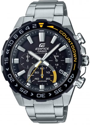 Casio Edifice Silver Stainless Steel Bracelet Black Dial Solar Men's Watch EFS-S550DB-1AVUEF 47mmThis Casio Edifice Silver Stainless Steel Bracelet Black Dial Solar Men's Watch EFS-S550DB-1AVUEF 47mm provides speed and intelligence. Providing dynamic, intelligent support for independant men set the pace ahead of the pack. The black dial is complimented by silver coloured indexes and hands which are powered by a solar movement. At the 12 o'clock position is the ever present Casio logo as well as the family of Edifice. Moreover, at the 3, 6 and 9 o'clock position are three chronographs which range from 24 hours to 30 seconds. Furthermore, adjacent to the 4 o'clock index is a simplistic date window of the colours black and white. A steel case and sapphire glass is the used to protected the dial with a countdown timer ontop of the bezel. A silver stainles steel bracelet can then be fastened using a standard buckle.This watch has a water resistance of 100 metres, making it suitable for swimming and snorkelling.Key Features:Edifice FamilySilver Stainless Steel BraceletSilver Stainless Steel CaseSolar MovementChronographDate WindowSapphire Crystal GlassNeo DisplayStopwatchAnti-Reverse BezelScrew Locked BackStandard Buckle100m Water ResistantBattery Level IndicatorThe Family: EdificeFirstly, Casio's Edifice collection takes its aesthetic inspiration from F1 cars, resulting in a collection of timepieces that combine dynamic form with intricately detailed watch faces. Additionally, higher end models feature Casio's exclusive Multi Mission Drive movement, in which the watch is comprised of five separate motors to ensure that power is never diverted from the hands. Lastly, designed to offer what Casio say will be 'Speed and Intelligence,' the Edifice range offers motorsport precision engineering in a watch.The Brand: CasioCasio was established in 1946 by Japanese engineer Tadao Kashio. Firstly, the company entered the timepiece market in 1974 with the release of the Casiotron, the world's first Auto Calendar watch. Secondly, only eleven years after entering this field, Casio completely reshaped global thought about the function a watch should perform with the release of the pioneering and now legendary G-Shock family. Innovation and world firsts have defined the company's history ever since, the most striking of these being the release of the first ever touch screen watch in 1991, 24 years before the Apple Watch, and the first ever wrist camera watch in 2000. In short, Casio was producing smartwatches decades before the term had even been coined. Add to this the hipster popularity of the company's retro designs, and Casio has firmly cemented its reputation as a famously reliable and precise name in both analogue and digital watches.