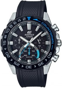 Casio Edifice Black Resin Steel Solar Chronograph Men's Watch EFS-S550PB-1AVUEFThis Casio Edifice Black Resin Stainless Steel Case Solar Chronograph Men's Watch EFS-S550PB-1AVUEF provides speed and intelligence. Providing dynamic, intelligent support for independent men set the pace ahead of the pack. The black dial is complimented by silver coloured indexes and hands which are powered by a solar movement. At the 12 o'clock position is the ever present Casio logo as well as the family of Edifice. Moreover, at the 3, 6 and 9 o'clock position are three chronographs which range from 24 hours to 30 seconds. Additionally, adjacent to the 4 o'clock index is a simplistic date window of the colours black and white. A steel case and sapphire glass is the used to protected the dial with a countdown timer on top of the bezel. A black resin strap can then be fastened using a standard buckle.Additionally, this watch has a water resistance of 100 metres, making it suitable for swimming and snorkelling.Key Features:Edifice FamilyBlack Resin StrapSilver Stainless Steel CaseSolar MovementChronographDate WindowSapphire Crystal GlassNeo DisplayStopwatchAnti-Reverse BezelScrew Locked BackStandard Buckle100m Water ResistantBattery Level IndicatorThe Family: EdificeCasio's Edifice collection takes its aesthetic inspiration from F1 cars, resulting in a collection of timepieces that combine dynamic form with intricately detailed watch faces. Furthermore, higher end models feature Casio's exclusive Multi Mission Drive movement, in which the watch is comprised of five separate motors to ensure that power is never diverted from the hands. In summary, designed to offer what Casio say will be 'Speed and Intelligence,' the Edifice range offers Motorsport precision engineering in a watch.The Brand: CasioCasio was established in 1946 by Japanese engineer Tadao Kashio. Firstly, the company entered the timepiece market in 1974 with the release of the Casiotron, the world's first Auto Calendar watch. Furthermore, only eleven years after entering this field, Casio completely reshaped global thought about the function a watch should perform with the release of the pioneering and now legendary G-Shock family. Innovation and world firsts have defined the company's history ever since, the most striking of these being the release of the first ever touch screen watch in 1991, 24 years before the Apple Watch, and the first ever wrist camera watch in 2000. In short, Casio was producing smartwatches decades before the term had even been coined. Add to this the hipster popularity of the company's retro designs, and Casio has firmly cemented its reputation as a famously reliable and precise name in both analogue and digital watches.