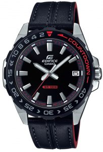 Casio Edifice Quartz Countdown Bezel Stainless Steel Case Black Leather Strap Men's WatchThis Casio Edifice EFV-120BL-1AVUEF is entirely exclusive to us in the UK! This is another bold addition to the respected Edifice family and we could not be more proud to stock this exclusively. This model has a whole range of great features… Firstly, the Neo-Display which provides you with a long term illuminated display even in the dark. Or a battery that has the ability to provide your watch with sufficient energy for approximately 3 whole years.The Edifice family is known for it's ability to produce watches which operate within the highest realms of precision. This is certainly the case with our exclusive. Significantly it features a countdown bezel, which allows you to accurately time whatever you may be doing. The watch also features a tough mineral glass that resists scratching, as well as bezels that are ion plated, which increase scratch resistance. The sleek high quality black leather strap compliments the watch, thus combing durability, style and maximum comfort.A screwed back lock optimises the inner workings of the watch. This protects the inner workings of the watch, whilst providing easy access when changing the batteries for example. The watch is water resistant up to 100 metres, meaning it is perfect for snorkelling or swimming.Key Features:Edifice FamilyCountdown Bezel100m Water ResistantDate WindowBlack DialSteel CaseBlack Leather StrapStandard Buckle41mm CaseQuartz MovementMineral GlassThe Family: EdificeCasio's Edifice collection takes inspiration from F1 cars... Resulting in a collection of timepieces that combine dynamic form with intricate design. Significantly higher end models feature Casio's exclusive Multi Mission Drive movement. These models feature five separate motors to ensure that power is never diverted from the hands. Designed to offer what Casio say will be 'Speed and Intelligence,' the Edifice range offers motorsport precision engineering in a watch.The Brand: CasioCasio was established in 1946 by Japanese engineer Tadao Kashio. The company entered the watch market in 1974 with the release of the Casiotron, which was the world's first Auto Calendar watch. Then only eleven years after entering this field Casio reshaped global thought about the functions a watch should perform. This began with the release of the legendary G-Shock family.Innovation and world firsts have defined the company's history ever since. The most striking of these being the release of the first ever touch screen watch in 1991, 24 years before the Apple Watch. Also they released the first ever wrist camera watch in 2000. Casio have been producing smartwatches decades before the term ever came into circulation. They have firmly cemented its reputation as a famously reliable and precise name in the watch world.If you have any questions please click hereClick here to join our facebookand Instagram!